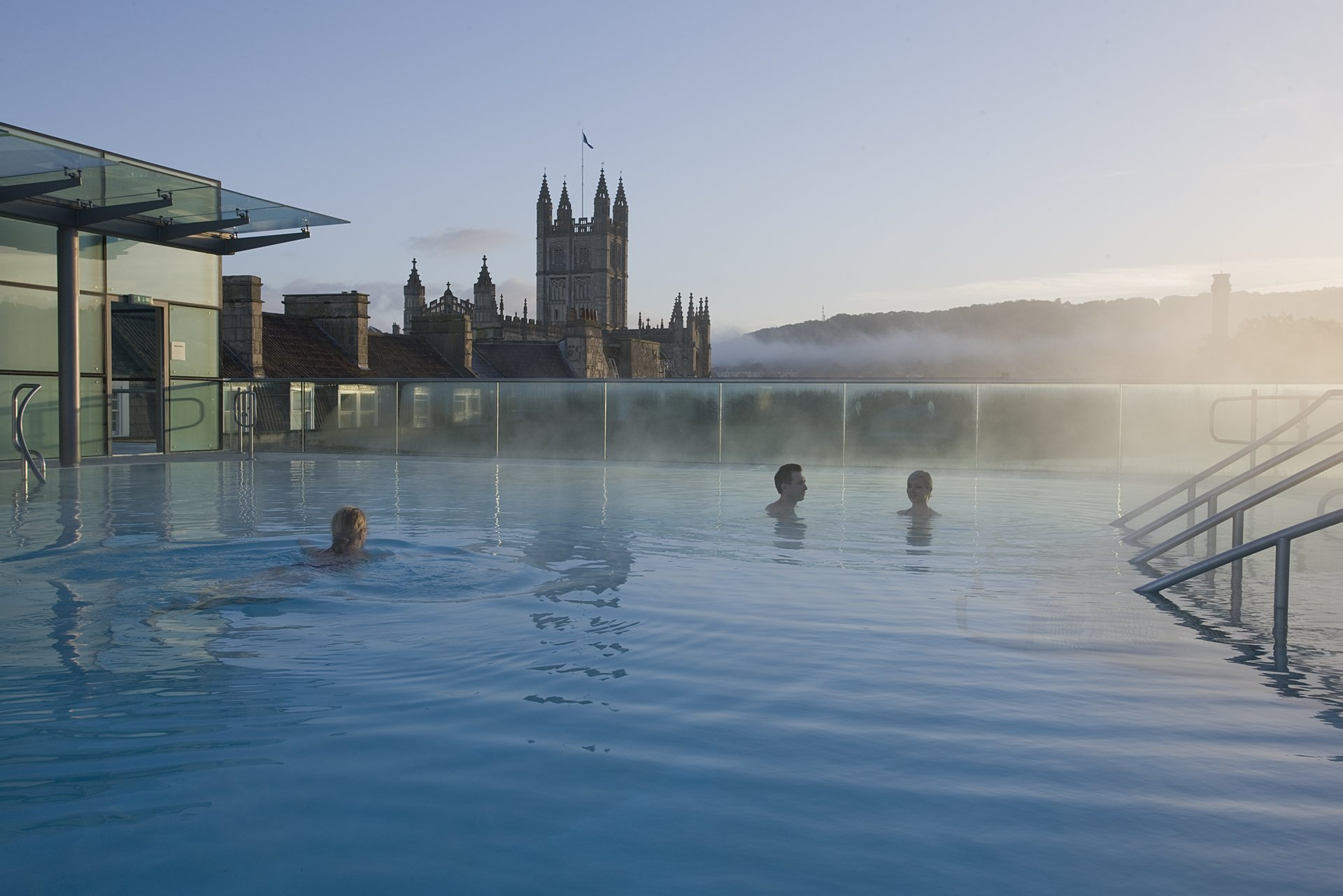 Early morning rooftop pool Thermae Bath Spa