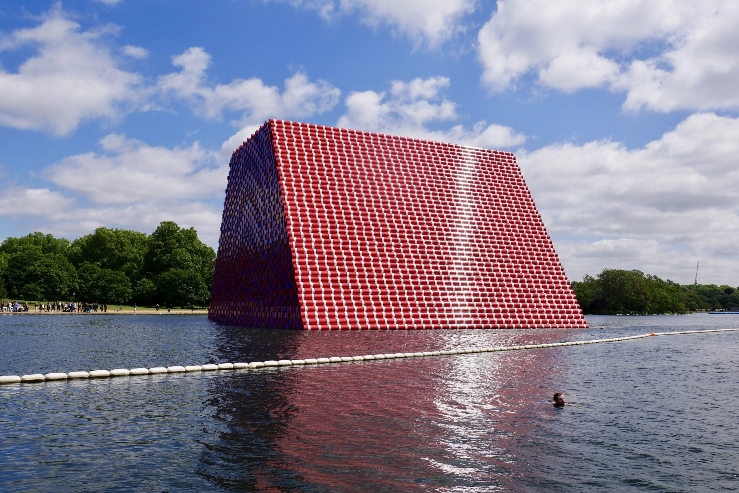 Serpentine Lido Swimmer near Christo London Mastaba